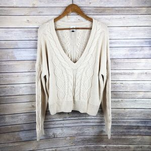 CAbi #5636 Straw Cropped Cable Knit Sweater Size M